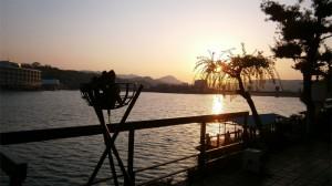 日田温泉旅館から眺める三隈川の夕陽