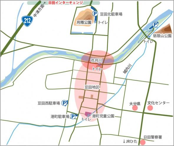 豆田地区のマップ