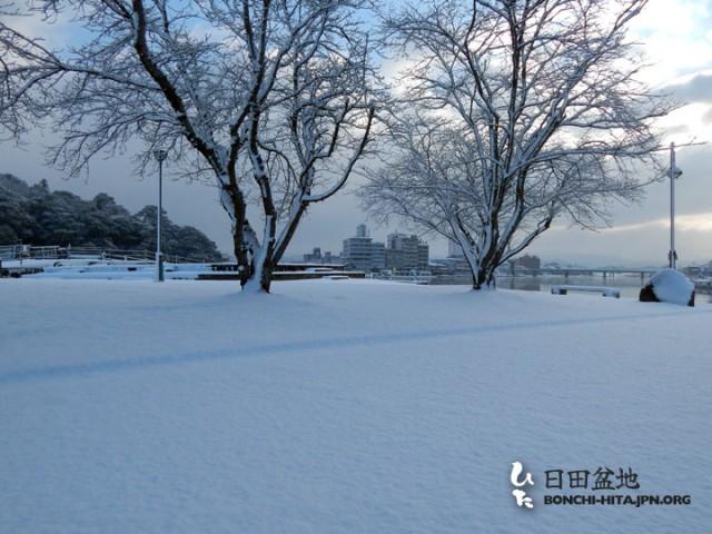 雪の三隈川公園