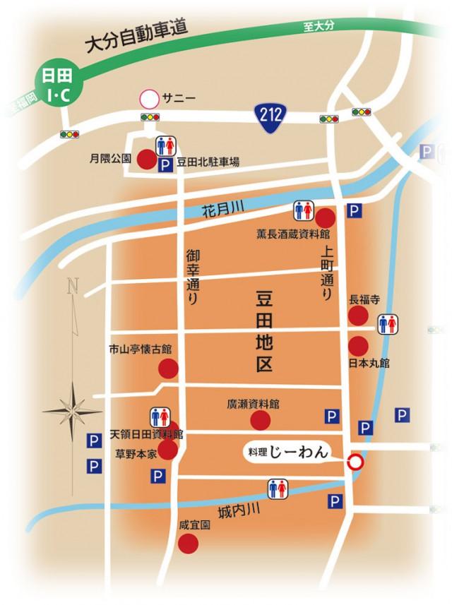 豆田町マップ(料理じーわん)